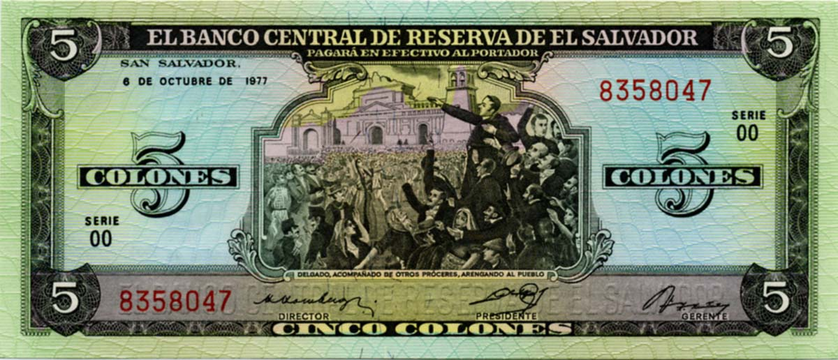 El Salvador:P-126a,5 Colones UNC * Cristobal Colon 1977